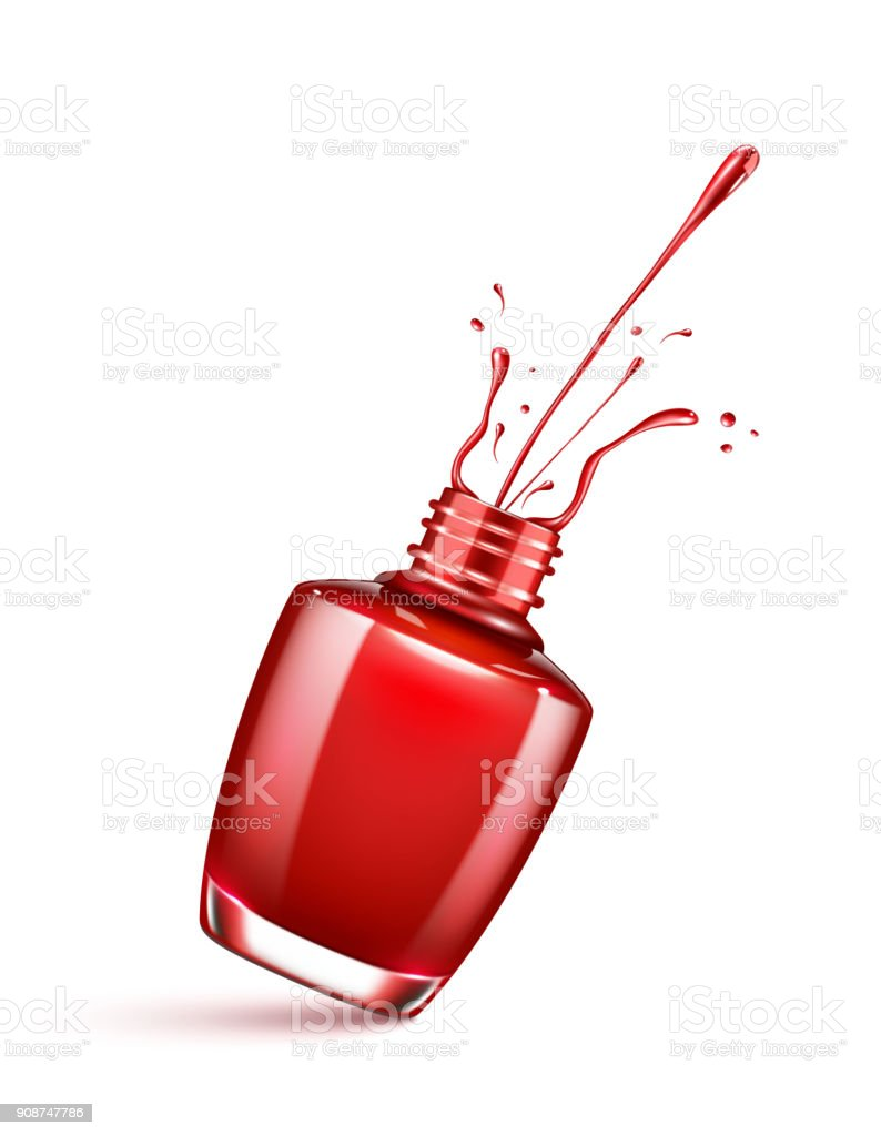 red nail polish bottle with splash isolated on white vector art illustration