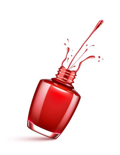 red nail polish bottle with splash isolated on white red nail polish bottle with splash isolated on white white nail polish stock illustrations