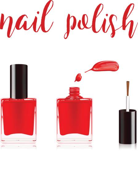 Red nail polish in bottle with the bottle lid on top and nail smear drop isolated on white background. Vector illustration. Red nail polish in bottle with the bottle lid on top and nail smear drop white nail polish stock illustrations