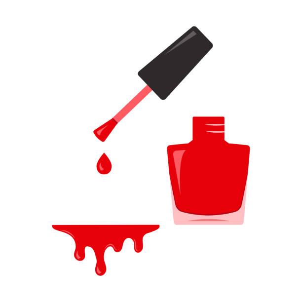 bildbanksillustrationer, clip art samt tecknat material och ikoner med rött nagellack, öppna flaskan. vektorillustration - emalj
