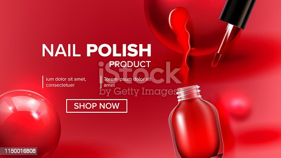 Red Nail Polish Product Vial Landing Page Vector. Glassy Bottle, Tassel, Bright Blot And Balls Depicted On Woman Nail Fashion Cosmetic Website Or Web Page. Realistic 3d Illustration