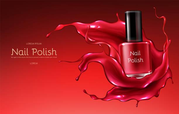 bildbanksillustrationer, clip art samt tecknat material och ikoner med röd nagellack realistisk vektor promo banner - emalj