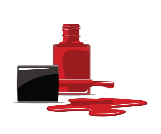 Red nail polish splatter on white background flat design Red nail polish splatter on white background flat design. Vector illustration. white nail polish stock illustrations