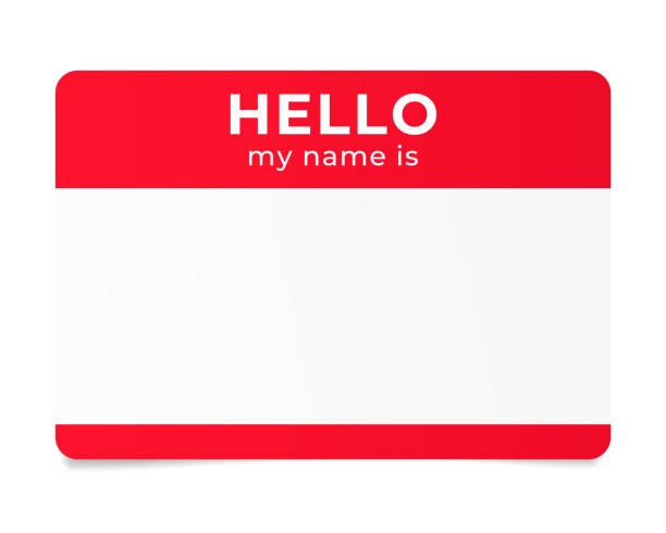 Red name tag. Hello my name is - label. Red name tag. Hello my name is - label greeting stock illustrations