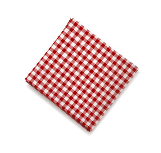stockillustraties, clipart, cartoons en iconen met rode servet op een witte achtergrond. geruite pastel tafellaken voor café en restaurant design - servet