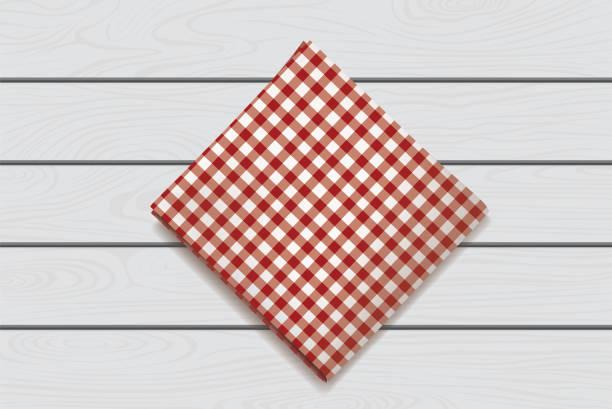 rote serviette auf einem hölzernen hintergrund. karo gingham tischdecke für café und restaurant design - winkelküche stock-grafiken, -clipart, -cartoons und -symbole