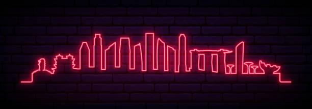 stockillustraties, clipart, cartoons en iconen met rode neon skyline van singapore city. bright singapore lange banner. vector illustratie. - singapore
