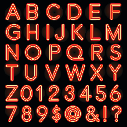 Red Neon Style Lettering Alphabet Set