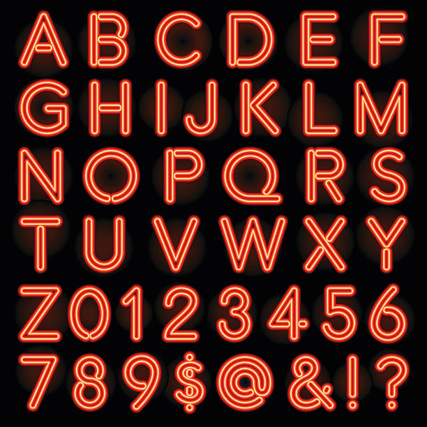 Red Neon Style Lettering Alphabet Set A full alphabet set, including numbers, in the style of old fashioned neon lettering. The letters were created using expanded strokes, not transparencies, making them easier to print. Behind each letter is a subtle radial gradient giving a bit of a glow to the background: This can easily be turned off if you don't want to deal with printing gradients. alphabet clipart stock illustrations