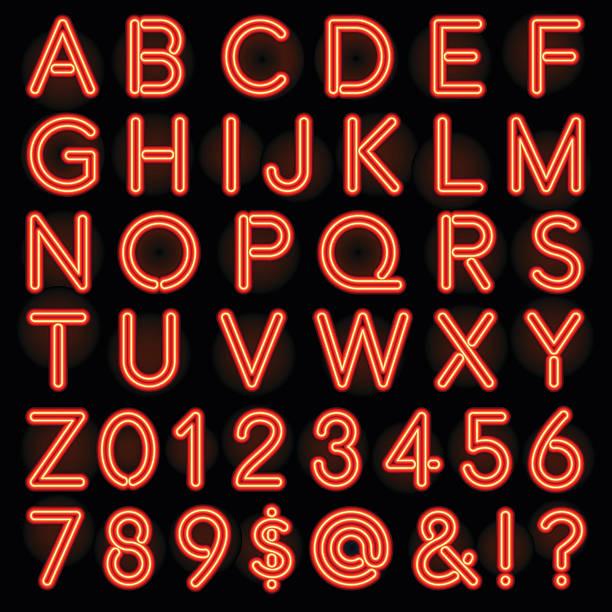 red neon style lettering alphabet set - 형광색의 stock illustrations