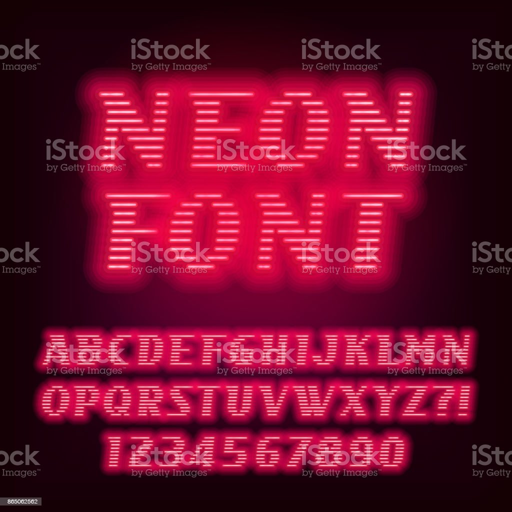 red neon tube alphabet font neon color oblique letters royalty free red neon