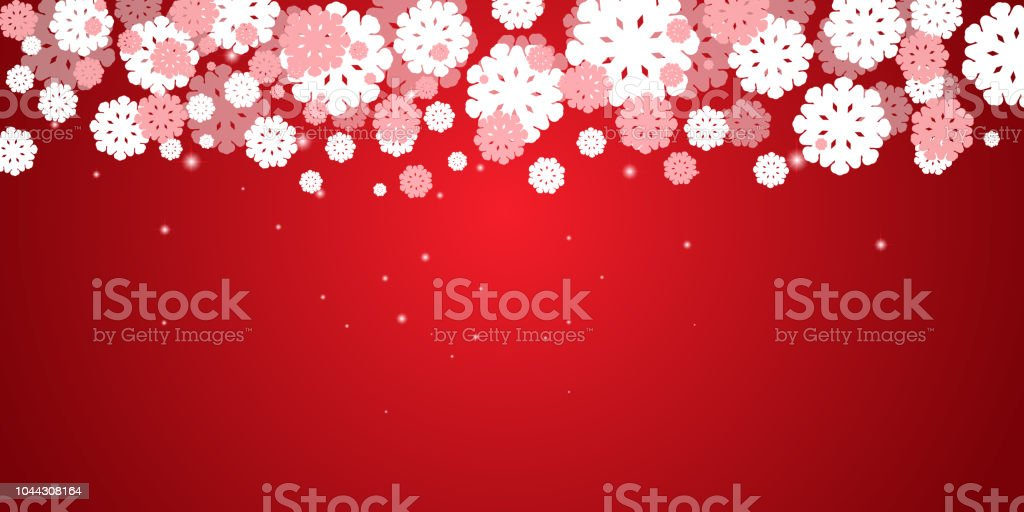 red new years christmas background with white snowflakes and snow border stars and snowfall