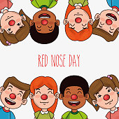 red nose day children with red nose