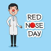 red nose day funny doctor with red nose