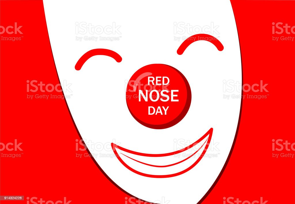 Red Nose Day Greeting Card With White Joker Mask Stock Vector Art