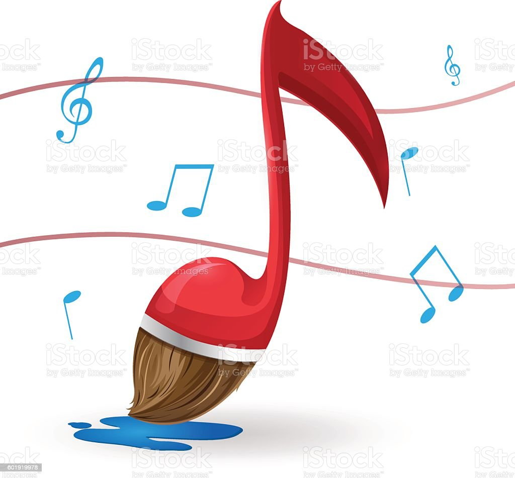 red note music brush paint vector stock vector art more images of rh istockphoto com Music Notes Graphics Music Notes
