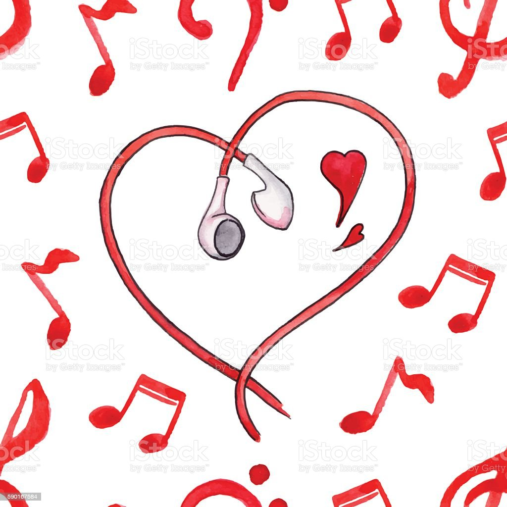red notes earphones hearts love music seamless pattern vector stock rh istockphoto com Single Music Notes Music Note Icon