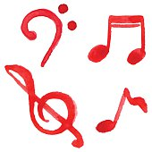Red notes music symbol set isolated vector.