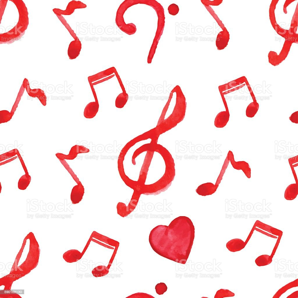 red notes treble bass clef love music seamless pattern vector stock rh istockphoto com Music Note Graphics Free Music Note Graphics Free