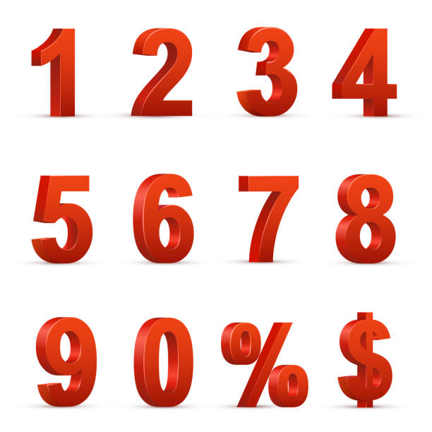 Red numbers and symbols 3D illustrations set Red numbers and symbols 3D illustrations set. Volumetric digits from zero to nine, percent and dollar symbols. Shopping sale, discount offer decorative design elements isolated on white background three dimensional stock illustrations