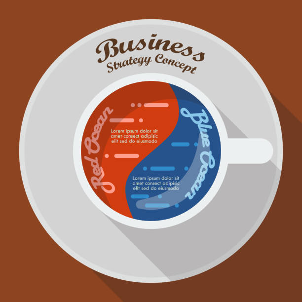 Red ocean and blue ocean business strategy in cup of coffee infographic vector art illustration