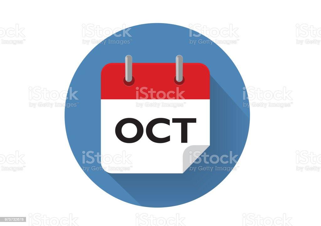Roter Oktober Kalendersymbol im Vektor-Format - Lizenzfrei Blau Vektorgrafik