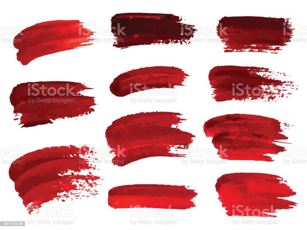 Rotes Öl Pinselstriche ähnlich wie Blut für Design, Element für Halloween. Vektor-Illustration. – Vektorgrafik