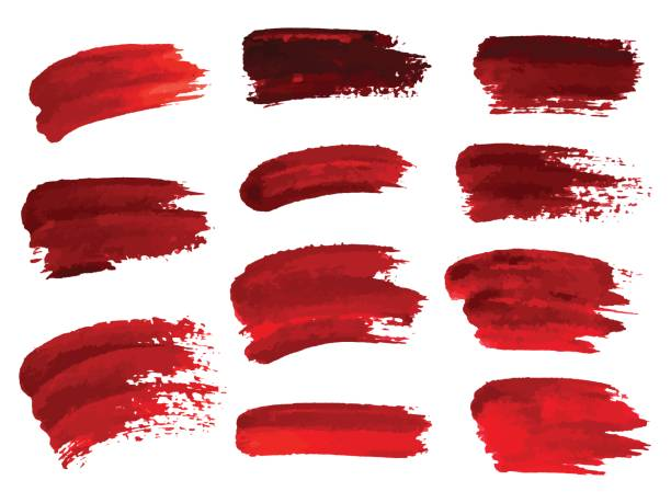 Red oil brush strokes similar to blood for design, element for halloween. Vector illustration. vector art illustration