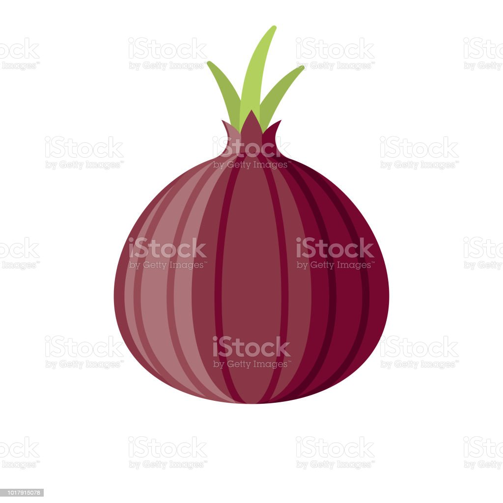 Red Onion Flat Design Vegetable Icon vector art illustration