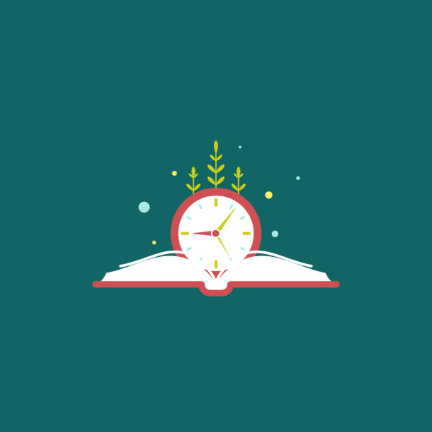 red open book with blue clock and grass. Isolated on blue background. red open book with blue clock and grass. Isolated on blue background. Flat reading icon. Vector illustration. Education, learning logo. Knowledge sign. Time to study, deadline, reminder, schedule fairy tale stock illustrations