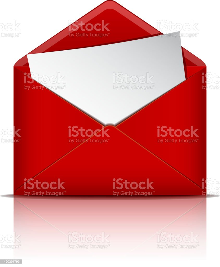 Red open envelope with paper. royalty-free stock vector art