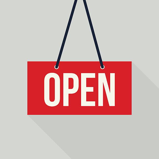 Red open sign Red open sign (EPS10) open sign stock illustrations