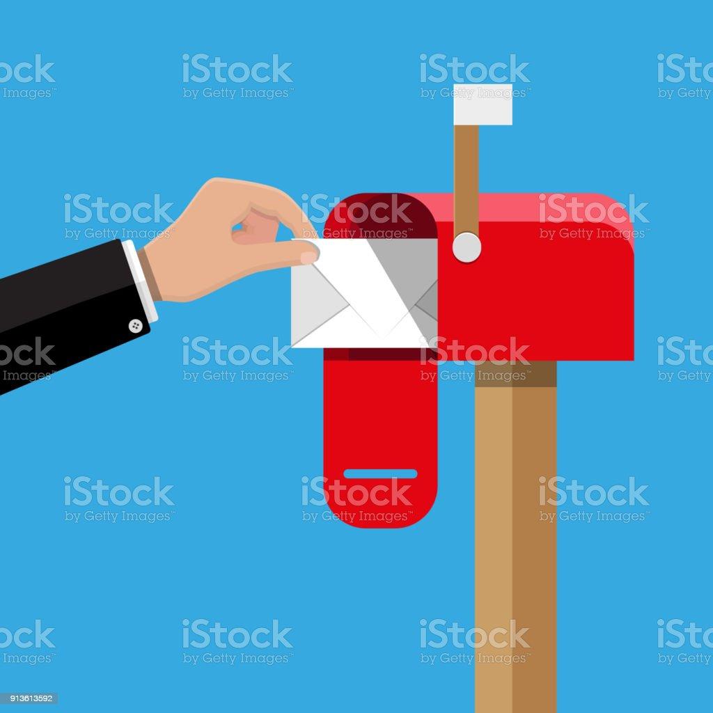 Rot geöffnet Postfach per Post im Inneren. – Vektorgrafik