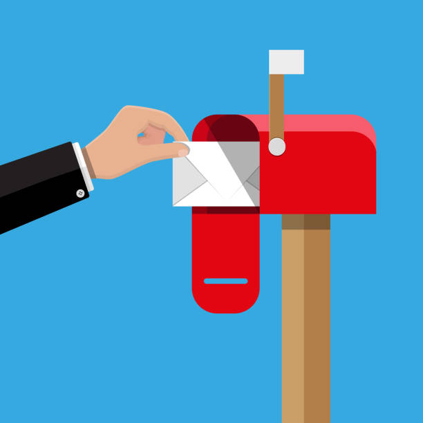 red opened mailbox with regular mail inside. - postal worker stock illustrations