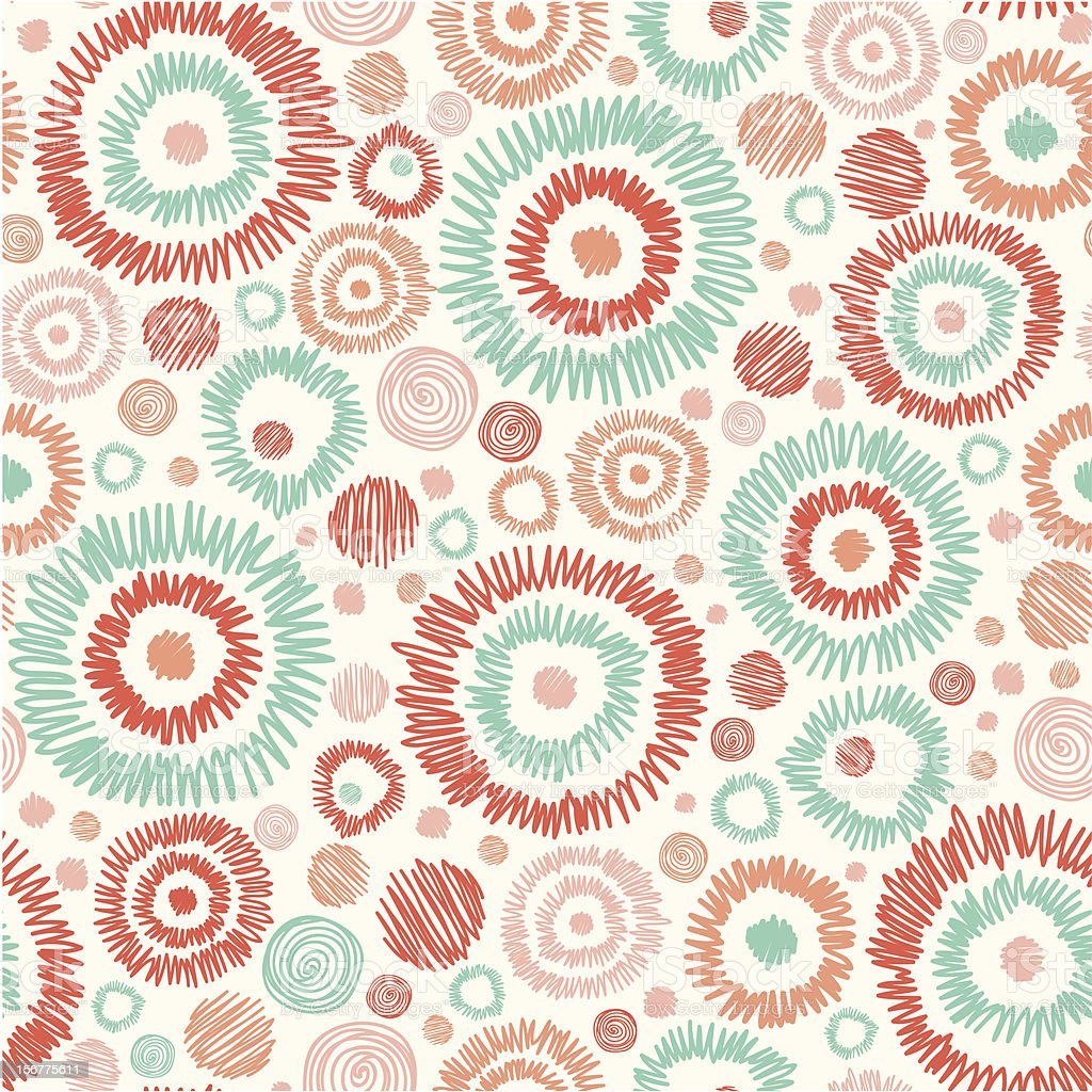 Red, orange and green circles doodle background royalty-free stock vector art