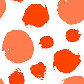 Red, orange, autumn maple vector watercolor dot seamless pattern isolated on white background. Abstract acrylic spots for creative fabric textile design. Hand painted circles, confetti round texture.