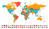 High Detailed World Map and Flags - borders, countries and cities - vector illustration