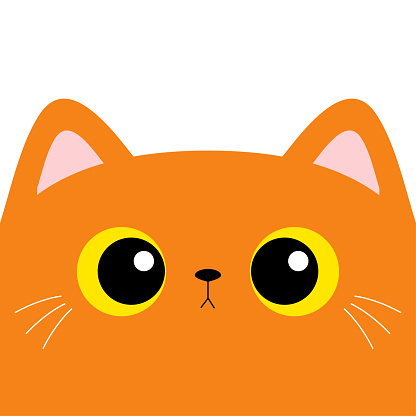 Red orange cat kitten square head face. Kawaii baby pet animal. Cute cartoon character. Pink ears, nose. Yellow eyes. Notebook cover, tshirt, greeting card print. Flat design. White background.