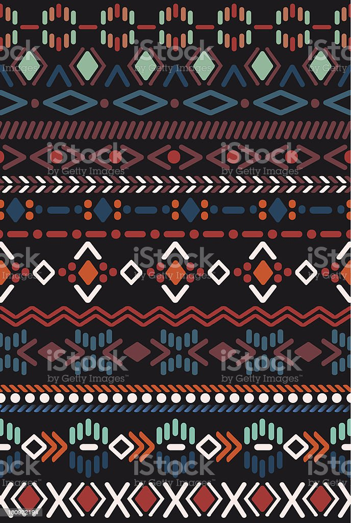 Red, orange, teal, purple and black pattern in Aztec style vector art illustration