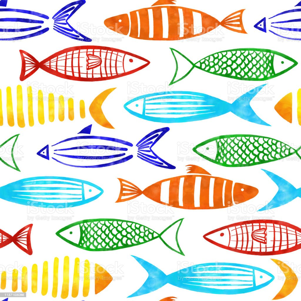 Red, Orange, Yellow, Turquoise, Blue and Green Watercolor Fishes Seamless Pattern with White Background. - Grafika wektorowa royalty-free (Akwarela)