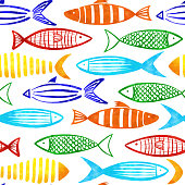 Red, Orange, Yellow, Turquoise, Blue and Green Watercolor Fishes Seamless Pattern with White Background.