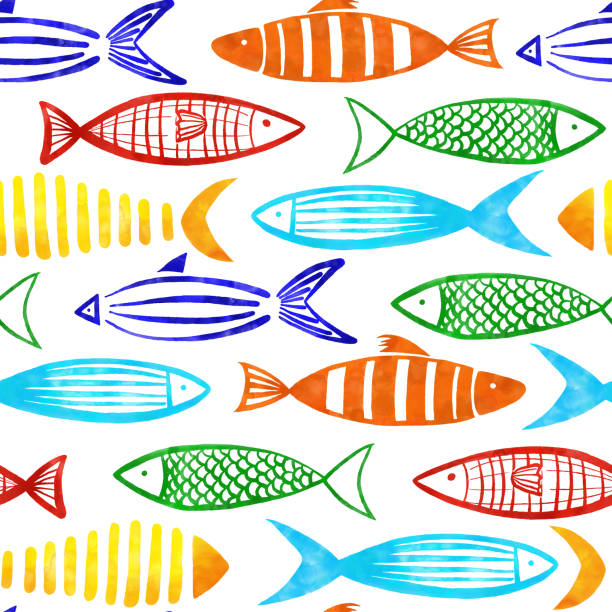 Red, Orange, Yellow, Turquoise, Blue and Green Watercolor Fishes Seamless Pattern with White Background. Red, Orange, Yellow, Turquoise, Blue and Green Watercolor Fishes Seamless Pattern with White Background. beluga whale stock illustrations