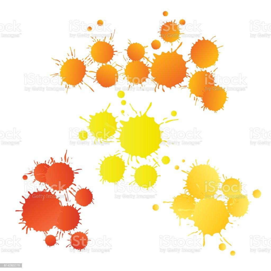 빨간 오렌지 노란색 수채화 물감 페인트 상품 일러스트 814263276 ...