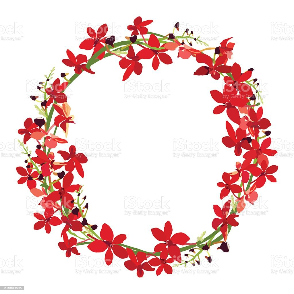 red orchid frame floral wreath circle frame isolated