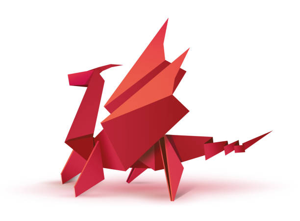 Red Origami Dragon Vector Art Illustration