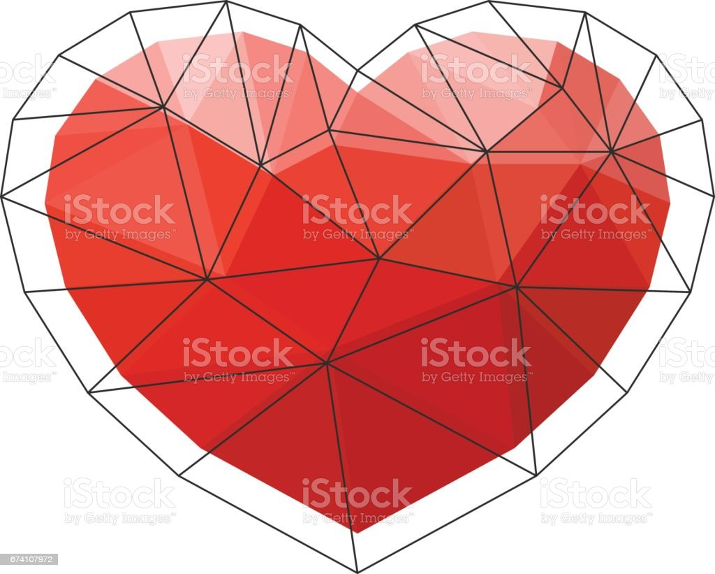 Red origami heart on white background. Vector Illustration. Abstract polygonal heart. Love symbol. Low-poly colorful style. Romantic background for Valentines day. royalty-free red origami heart on white background vector illustration abstract polygonal heart love symbol lowpoly colorful style romantic background for valentines day stock vector art & more images of abstract