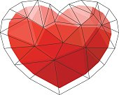 Red origami heart on white background. Vector Illustration. Abstract polygonal heart. Love symbol. Low-poly colorful style. Romantic background for Valentines day.