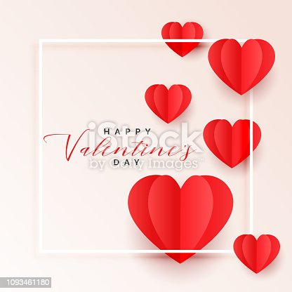 red origami paper hearts valentines day background