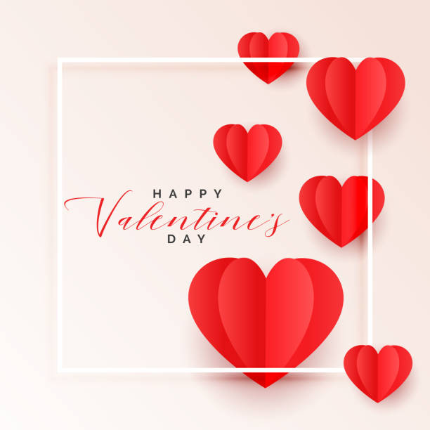 red origami paper hearts valentines day background - valentines day stock illustrations