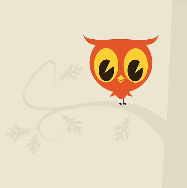 red owl on grey - great horned owl stock illustrations, clip art, cartoons, & icons
